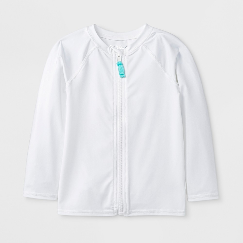 Toddler Boys' Long Sleeve Zip Rash Guard - Cat & Jack White 2T