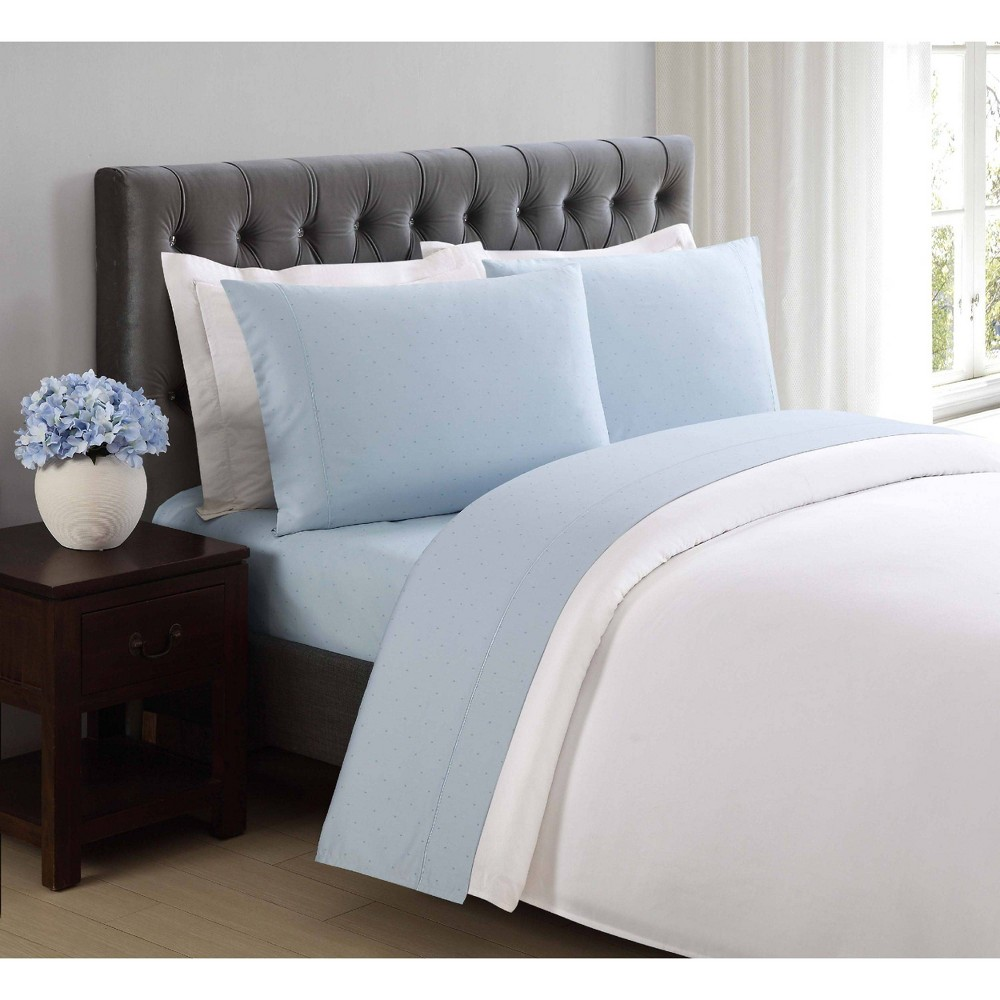 Image of California King 310 Thread Count Classic Dot Printed Cotton Sheet Set Sky Blue - Charisma