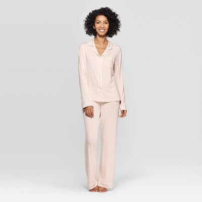 Women's Beautifully Soft Long Sleeve Notch Collar Top and Pants Pajama Set - Stars Above™