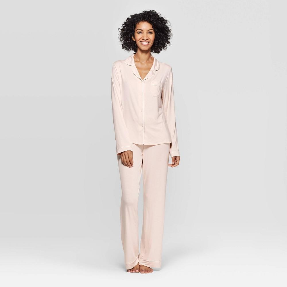 Image of Women's Beatutifully Soft Notch Collar Pajama Set - Stars Above Pink XXL, Women's