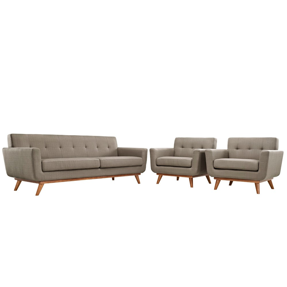Engage Armchairs and Sofa Set of 3 Granite - Modway