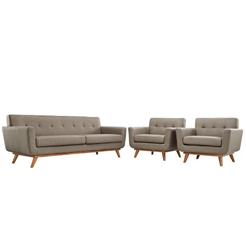 Set of 3 Engage Armchairs and Sofa Granite - Modway - image 1 of 4
