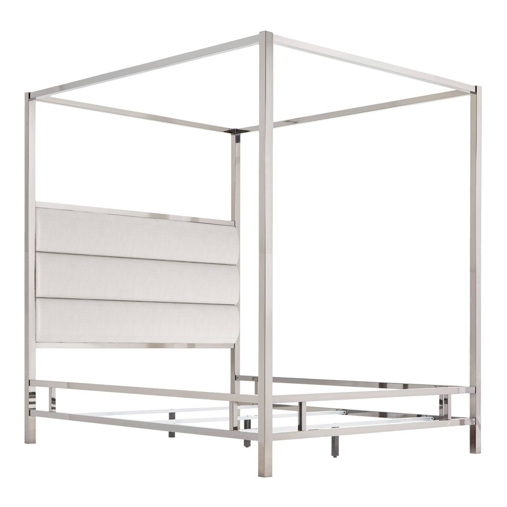 Queen Manhattan Canopy Bed with Horizontal Panel Headboard White - Inspire Q