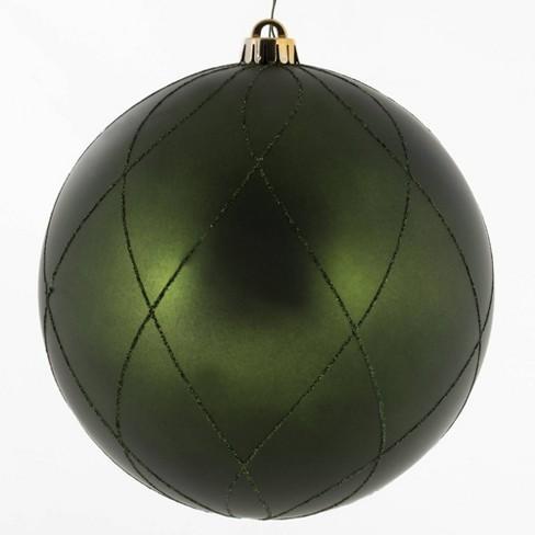 """Vickerman 8"""" Matte Glitter Swirl Ball Ornament Moss Green - image 1 of 4"""