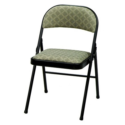 4pc Deluxe Fabric Padded Folding Chairs Lace Frame and Zuni Fabric Black - Sudden Comfort