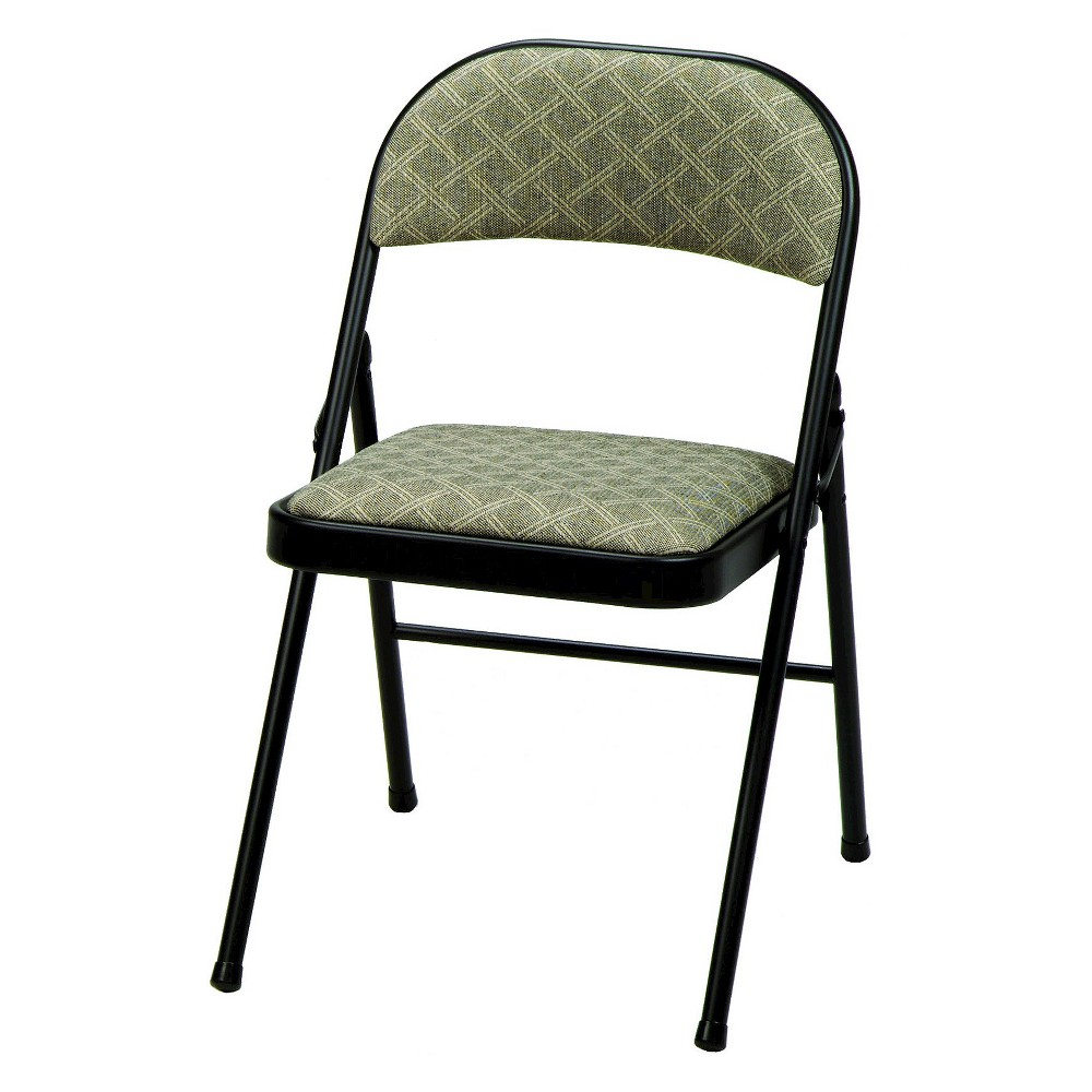 Image of 4 Piece Deluxe Fabric Padded Folding Chair Black Lace Frame and Zuni Fabric - Sudden Comfort