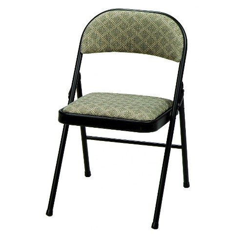 Fabric Padded Folding Chair Black Lace