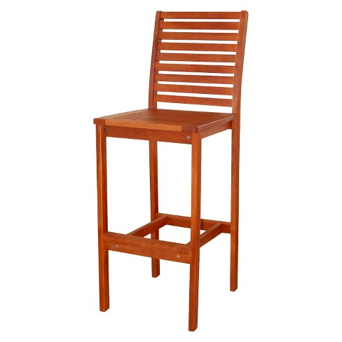 Excellent Vifah Slatted Outdoor Wood Barstool Brown Andrewgaddart Wooden Chair Designs For Living Room Andrewgaddartcom