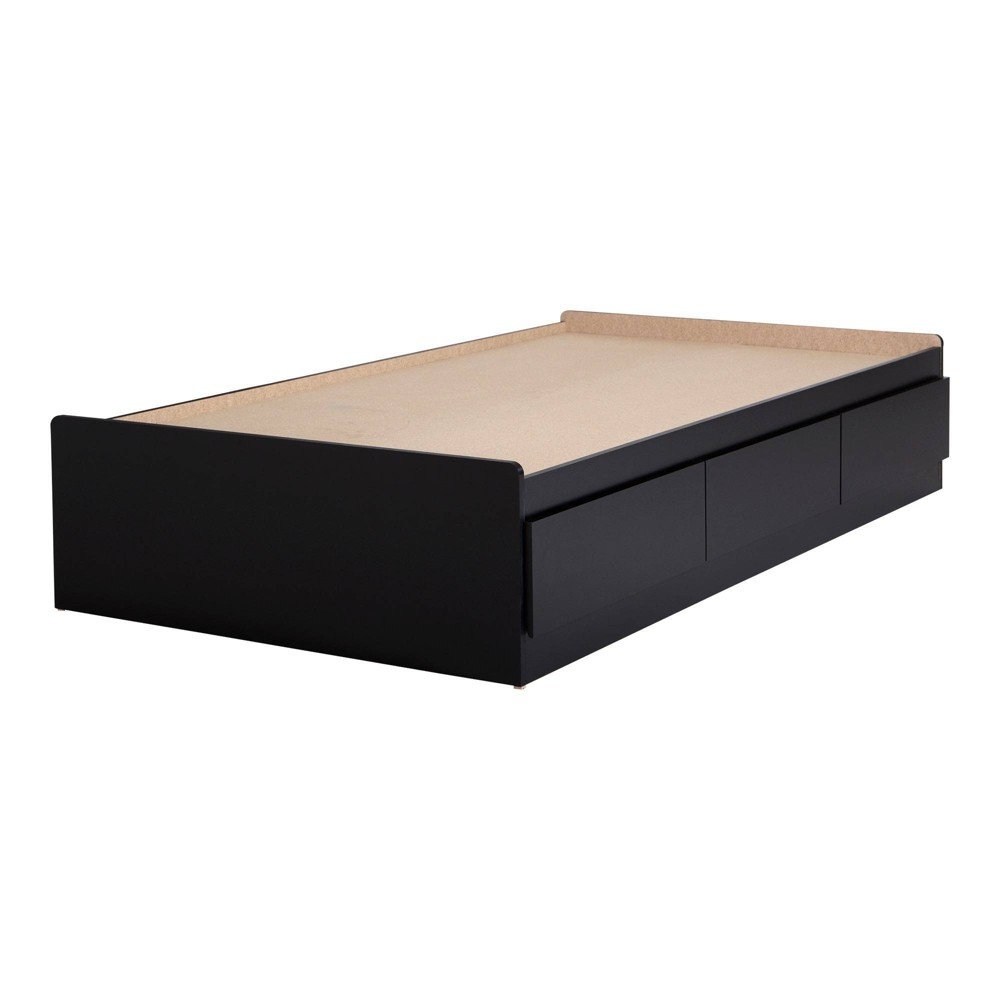 Twin Vito Mates Bed with 3 Drawers Pure Black - South Shore