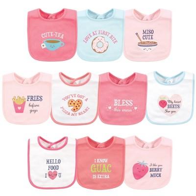Hudson Baby Infant Girl Cotton Bibs, Food Puns Girl, One Size