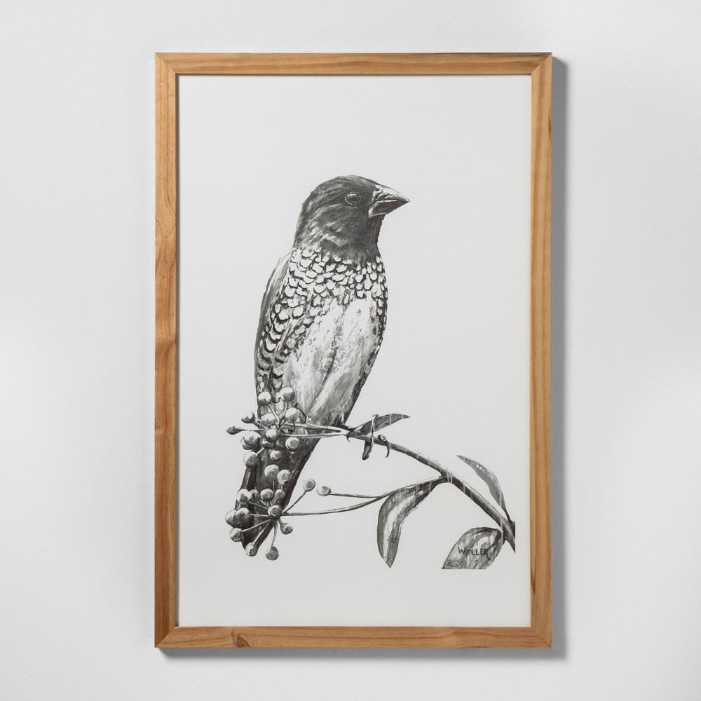"Image of ""24"""" X 36"""" Sketched Bird on Branch Wall Art with Natural Wood Frame - Hearth & Hand with Magnolia"""