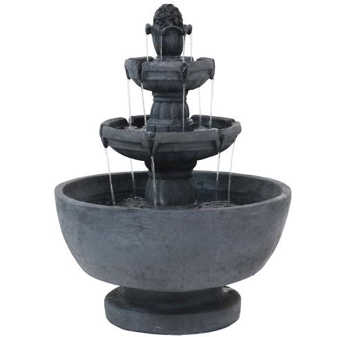 "34"" Budding Fruition 3-Tier Outdoor Water Fountain - Sunnydaze Decor - image 1 of 6"
