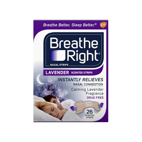 Breathe Right Lavender Scented Drug-Free Nasal Strips for Congestion Relief - 26ct - image 1 of 4
