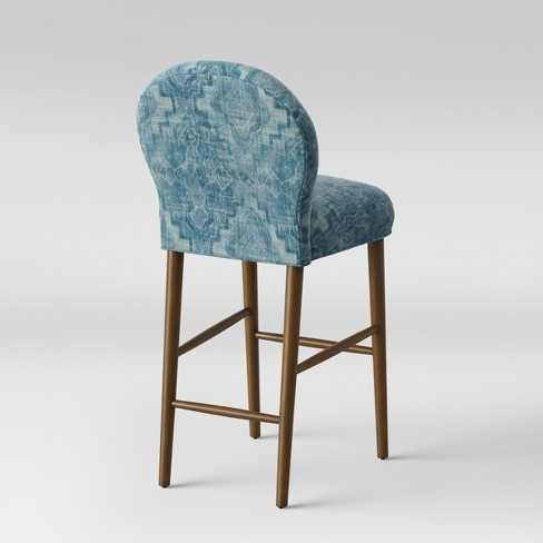 32 Caracara Rounded Back Barstool Blue Woven Design Opalhouse