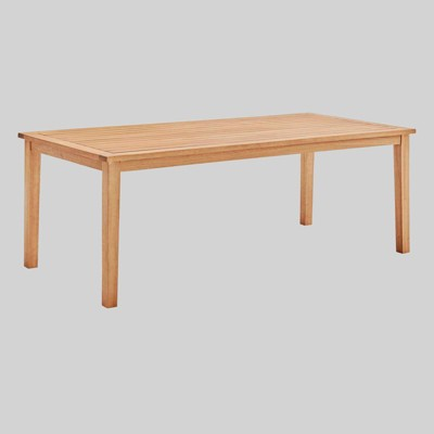 """Viewscape 83"""" Rectangle Outdoor Patio Ash Wood Dining Table - Natural - Modway"""