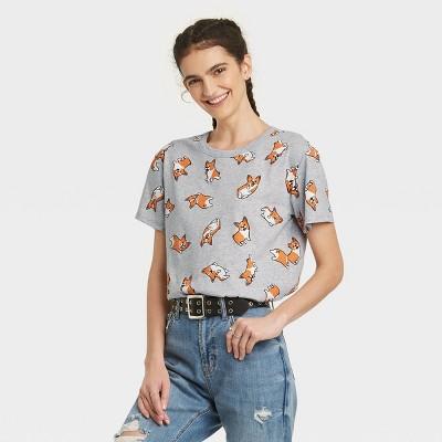 Women's Corgi Short Sleeve Graphic T-Shirt - Gray