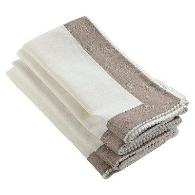 Two Tone Napkins with Knotted Border Ivory (Set of 4)