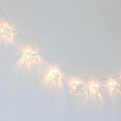 The Peanutshell Farmhouse Twinkle Stars LED Lighted Garland
