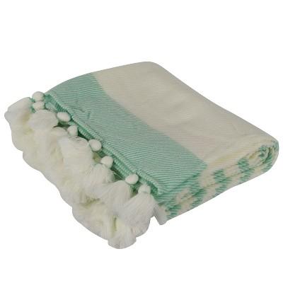 60 x50  Jenessa Stripe Tassel Throw Blanket White - Decor Therapy