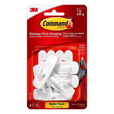 Command 6 Hooks 12 Strips Small Sized UtilityDecorative Hooks Value Pack White