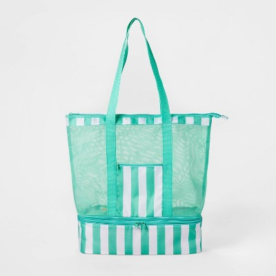 2 in 1 Cooler Tote Teal/White - Sun Squad™