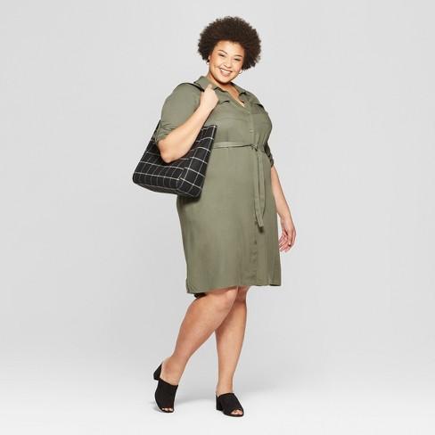 190e388bc6f Women s Plus Size Long Sleeve Collared Shirtdress - Ava   Viv™   Target
