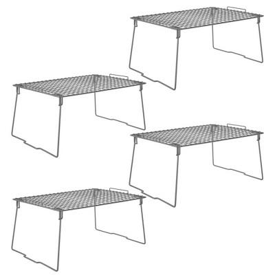 mDesign Metal Stackable Closet Storage Organizer Shelf, 4 Pack