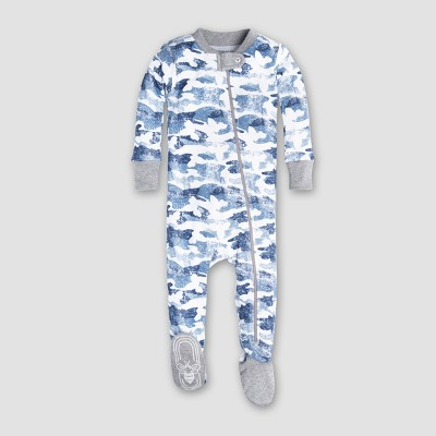 Burt's Bees Baby Boys' Organic Cotton Distressed Camo Sleeper - Blue 3-6M