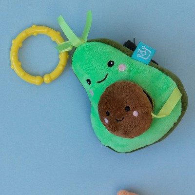 Manhattan Toy Mini-Apple Farm Avocado Baby Travel Toy with Rattle, Chime, Crinkle Fabric & Teether Clip-on Attachment
