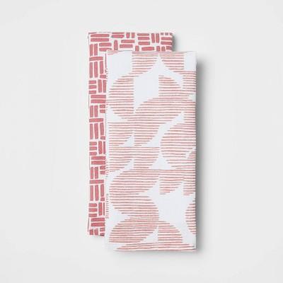 2pk Cotton Geometric Kitchen Towels Pink - Room Essentials™