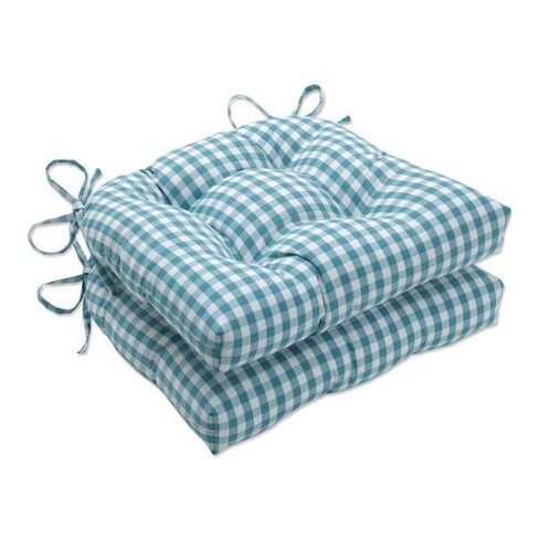 2pc Outdoor/Indoor Reversible Chair Pad Set Dawson Opal Green - Pillow Perfect - image 1 of 1