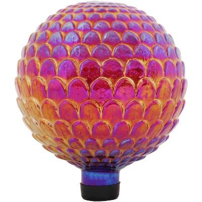 """Sunnydaze Outdoor Red Scalloped Texture Glass Gazing Globe Ball - 10"""" Diameter - Red"""
