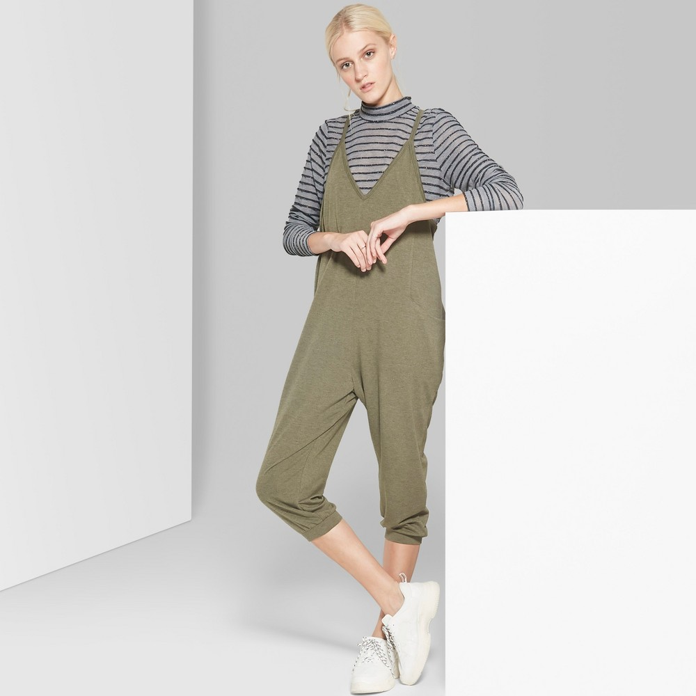 Women's Strappy V-Neck Cropped Knit Jumpsuit - Wild Fable Olive Xxl, Green