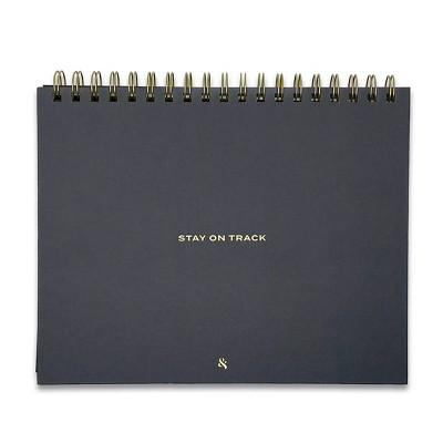 """Undated Planner 8""""x10"""" Stay on Track Black - Wit & Delight"""
