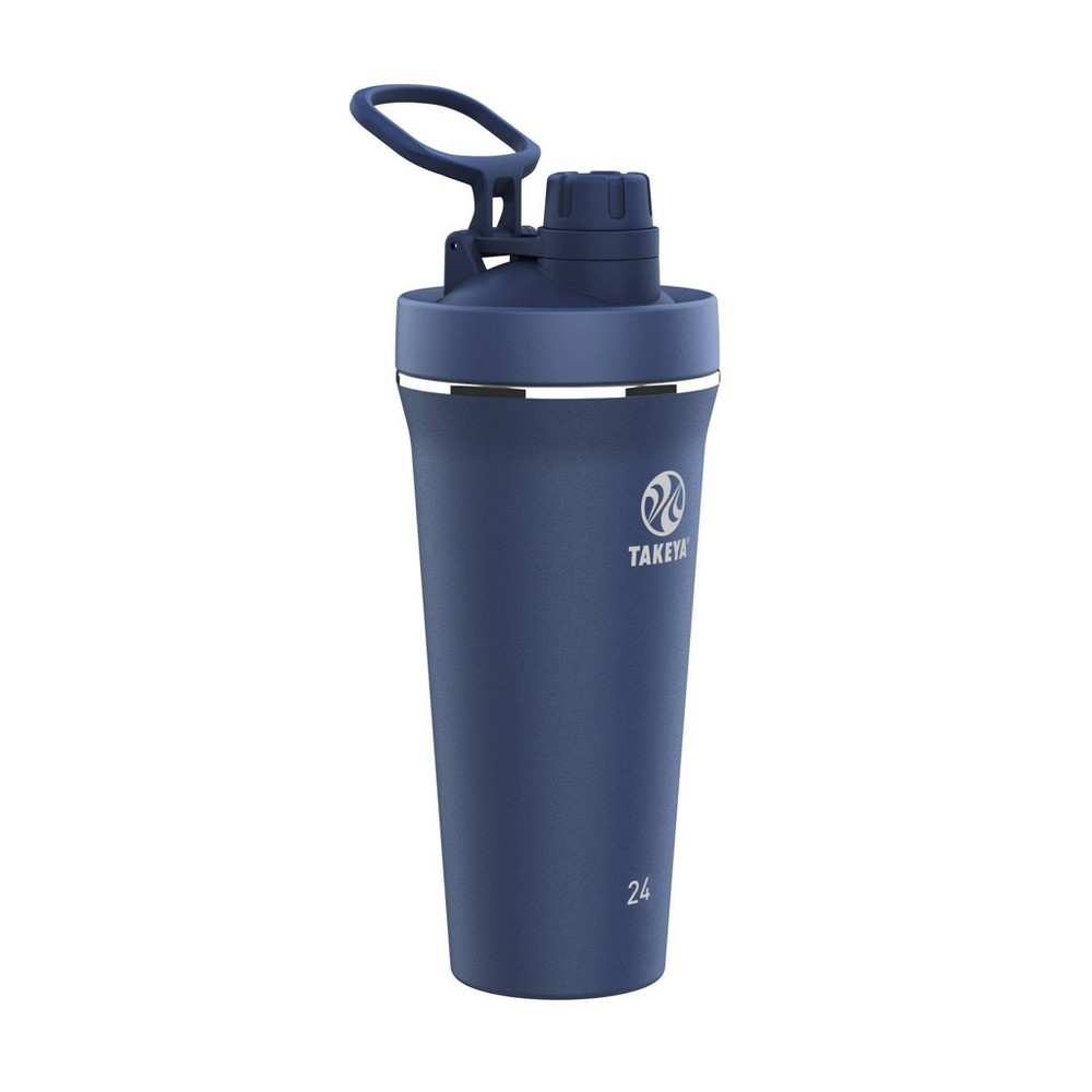 Takeya 24oz Insulated Stainless Steel Protein Shaker Water Bottle With Flip Lock Spout Lid Midnight Blue