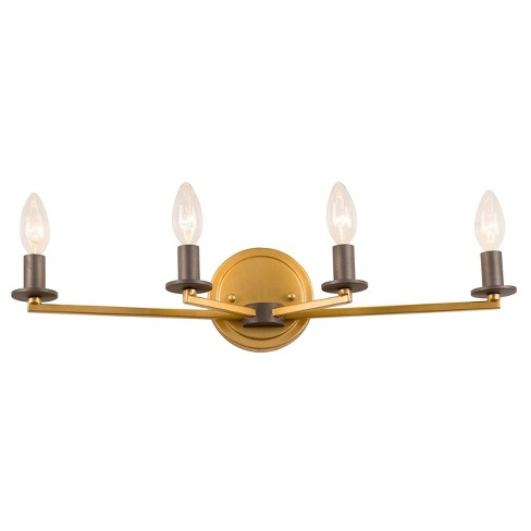 Elwood 4-Light Bath Light - Antique Gold with Rustic Bronze - Rogue Dcor - image 1 of 3