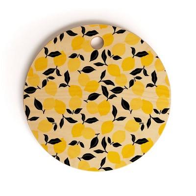 "13"" Wood Alisa Galitsyna Lemon Garden Cutting Board - society6"