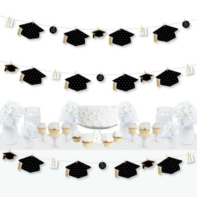 Big Dot of Happiness Tassel Worth The Hassle - Gold - 2021 Graduation Party DIY Decorations - Clothespin Garland Banner - 44 Pieces