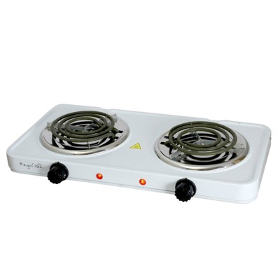MegaChef Portable Dual Electric Coil Cooktop - White