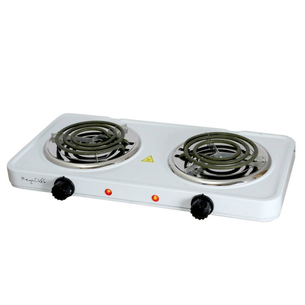 Image of MegaChef Portable Dual Electric Coil Cooktop - White