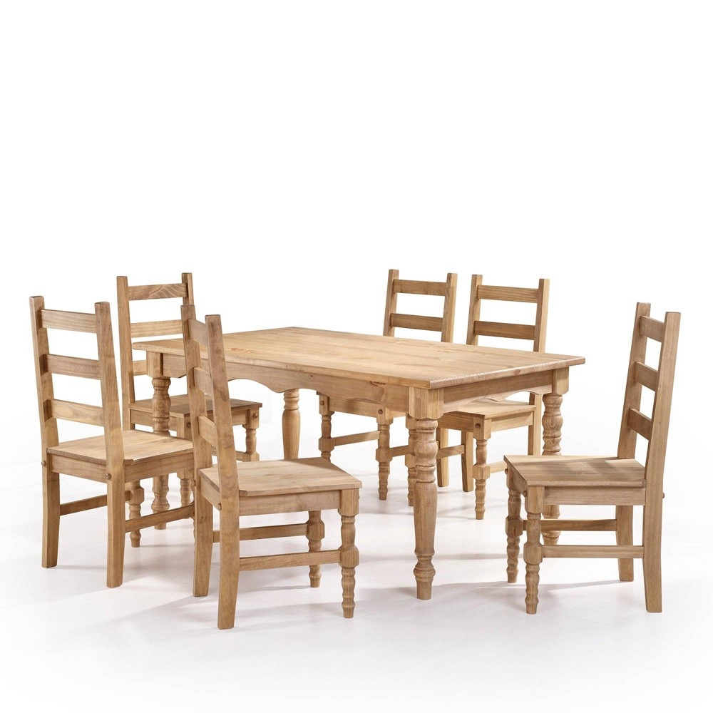 7pc Jay Solid Wood Dining Set Natural - Manhattan Comfort
