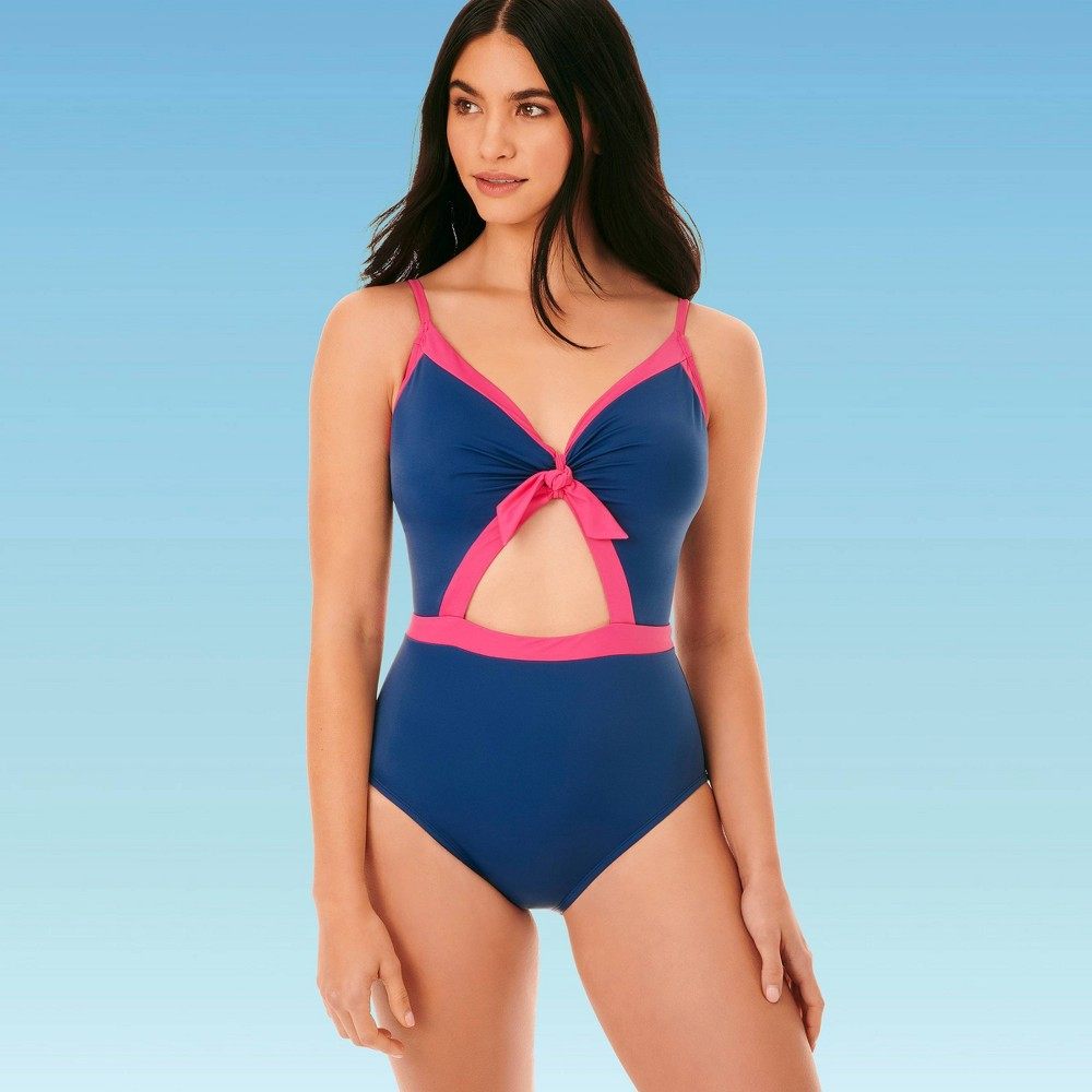 Vintage Bathing Suits | Retro Swimwear | Vintage Swimsuits Women39s Slimming Control Tie Front Cut Out One Piece Swimsuit - Beach Betty by Miracle Brands Pink $59.99 AT vintagedancer.com