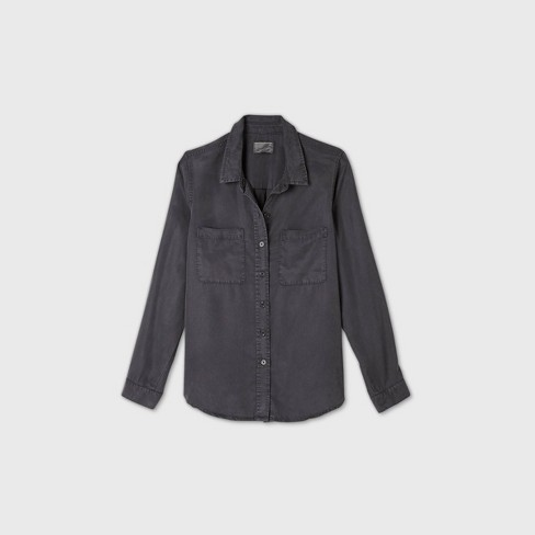 Women's Long Sleeve Button-Down Shirt - Universal Thread™ Navy - image 1 of 4