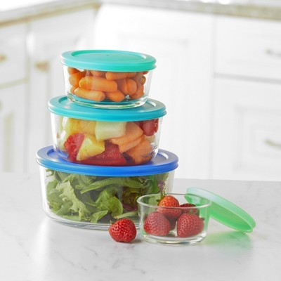 Lakeside Glass Food Storage Jars with Matching Sized Lids - 4 Containers with Lids
