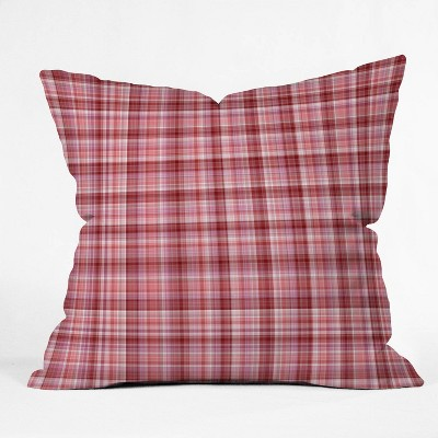 """16""""x16"""" Lisa Argyropoulos Holiday Plaid Throw Pillow Red - Deny Designs"""