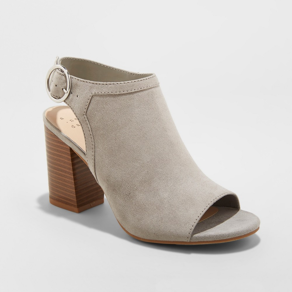 Women's Rhea Open Toe Stacked Heeled Pumps - A New Day Gray 9.5