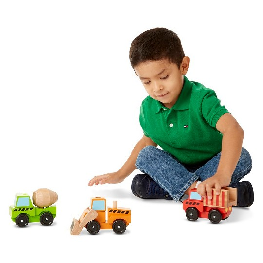 Melissa & Doug Stacking Construction Vehicles Wooden Toy Set image number null