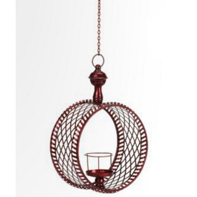 "Northlight 15"" Decorative Red Cylindrical Christmas Lattice Hanging Pillar Candle Lantern"