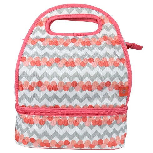 Double Dutch Club Dual Compartment Lunch Bag - Coral Chevron - image 1 of 4