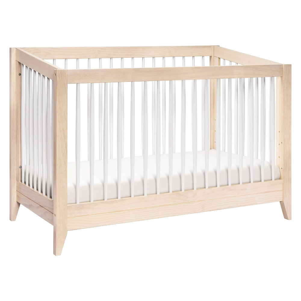 Babyletto Sprout 4-In-1 Convertible Crib With Toddler Bed Conversion Kit - Washed Natural / White, Washed Natural/White
